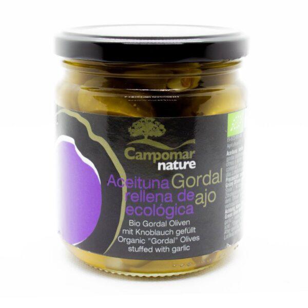 Bio-Oliven-Gordal,-groß-+-saftig,-gefüllt-mit-Knoblauch
