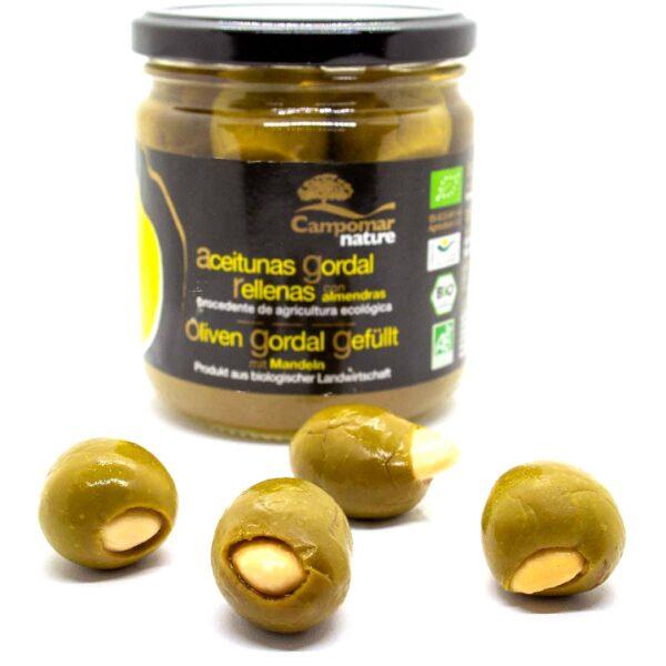 Bio-Oliven-Gordal,-groß-+-saftig,-gefüllt-mit-Mandeln